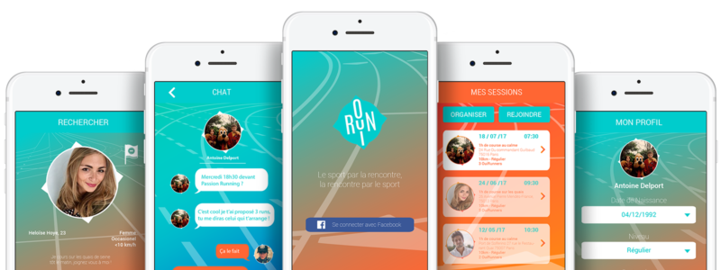 5 Téléphones avec l'application running OuiRun en background
